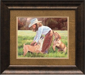 """June Dudley Brushstroked Textured Matted and Framed Art Print: """"Puppy Love"""""""
