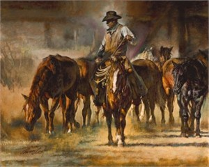 "Chris Owen Handsigned and Numbered Limited Edition Giclee : ""The Horse Wrangler"""