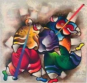 "David Schluss Limited Edition Serigraph:""Celebration Dance"""