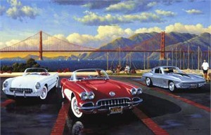 "Stan Stokes Handsigned and Numbered Limited Edition Giclee:""Golden Gate Corvettes"""