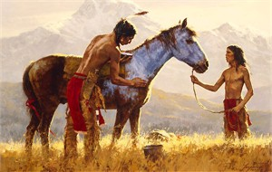 """Howard Terpning Handsigned and Numbered Limited Edition Giclee on Canvas: """"Horse of a Different Color"""""""