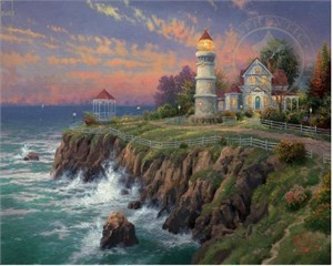 "Thomas Kinkade Signed and Numbered Limited Edition Hand Embellished Canvas: ""Victorian Light"""