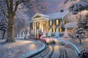 "Thomas Kinkade Signed and Numbered  Limited Edition Print and Hand Embellished Canvas:""Graceland� Christmas"""