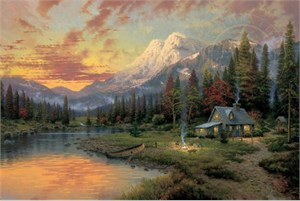 """Thomas Kinkade Signed and Numbered Limited Edition Print and Hand Embellished Canvas: """"Evening Majesty"""""""