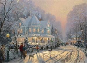"Thomas Kinkade Signed and Numbered Limited Edition Embellished Canvas: ""A Holiday Gathering"""