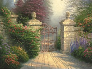 "Thomas Kinkade Signed and Numbered Limited Edition Embellished Canvas: ""The Open Gate"""