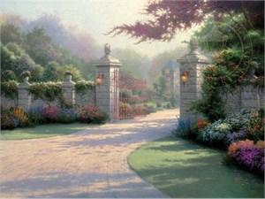 "Thomas Kinkade Signed and Numbered Limited Edition Embellished Canvas: ""Summer Gate"""