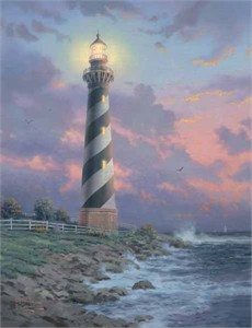 """Thomas Kinkade Signed and Numbered Limited Edition Hand Embellished Canvas:""""Cape Hatteras Light"""" (Lighthouse Landmarks Series)"""