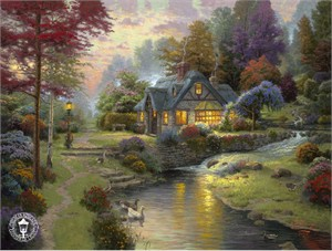 "Thomas Kinkade Signed and Numbered Limited Edition Print and Canvas:""Stillwater Cottage"""