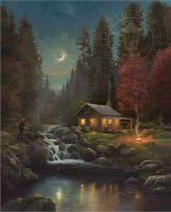 "Thomas Kinkade Signed and Numbered Limited Edition Fine Art Print and Hand-Embellished Canvas with Painted Accents :""Away From It All"""