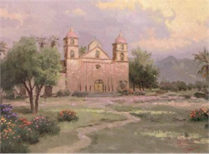 "Thomas Kinkade Signed and Numbered Limited Edition Hand Embellished  Canvas:""The Old Mission, Santa Barbara"""