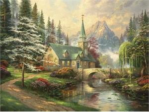 "Thomas Kinkade  Signed and Numbered Limited Edition Print and Hand Embellished Canvas:""Dogwood Chapel"""