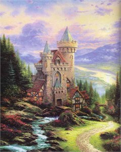 """Thomas Kinkade Signed and Numbered Limited Edition Hand Embellished  Canvas:""""Guardian Castle"""""""