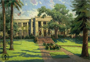 "Thomas Kinkade Signed and Numbered Limited Edition Hand Embellished  Canvas:""Los Gatos High School"""