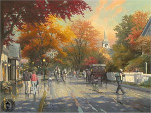 """Thomas Kinkade Signed and Numbered Limited Edition Print and Hand Embellished Canvas: """"Autumn on Mackinac Island"""""""