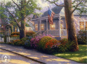 """Thomas Kinkade Signed and Numbered Limited Edition Canvas:""""Hometown Pride"""""""