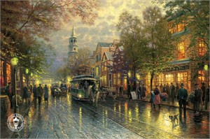 "Thomas Kinkade Signed and Numbered Limited Edition Print and Hand Embellished Canvas:""Evening on the Avenue"""