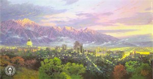 "Thomas Kinkade Signed and Numbered Limited Edition Print and Hand Embellished Canvas: ""Salt Lake,  City of Lights"""