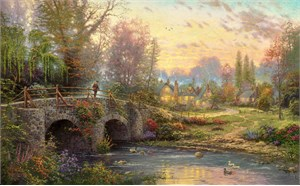"Thomas Kinkade Signed and Numbered Limited Edition Print on Paper and Hand Embellished Canvas :""Cobblestone Evening"""