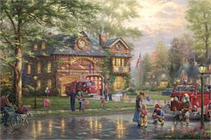 """Thomas Kinkade Limited Edition Giclee on Paper and Canvas:""""Hometown Firehouse"""""""