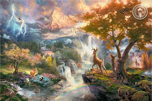 "Thomas Kinkade Signed and Numbered Limited Edition Disney Dreams Collection Giclee Print on Paper and Embellished Canvas :""Bambi's First Year"""
