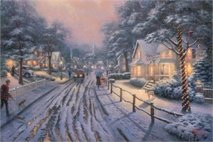 "Thomas Kinkade 25th Anniversary Signed and Numbered Limited Edition Print and Hand Embellished Canvas :""Hometown Christmas Memories"""