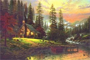 "Thomas Kinkade Open Edition Framed Classic Canvas:""A Peaceful Retreat - Classic """