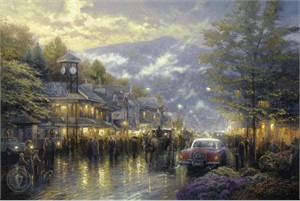 """Thomas Kinkade Signed and Numbered Limited Edition Print and Hand Embellished Canvas:""""Mountain Memories"""""""