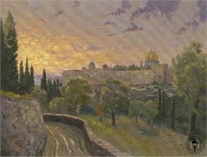 """Thomas Kinkade Signed and Numbered Limited Edition Canvas: """"Jerusalem Sunset"""""""