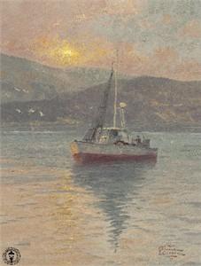 "Thomas Kinkade Signed and Numbered Limited Edition Canvas: ""Sunrise, Sea of Galilee"""