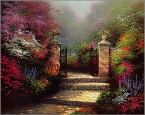 "Thomas Kinkade Open Edition Framed Classic Canvas:""Victorian Garden"""