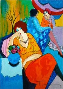 "Itzchak Tarkay Hand Signed and Numbered Serigraph:""Quiet Afternoon"""