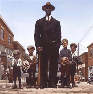 "Kadir Nelson Open Edition Fine Art Print :""Willie Foster and Young Fans"""