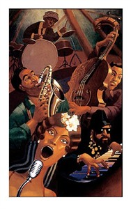 "Justin Bua Limited Edition Signed Serigraph Ed. 375:""Jazz Quintet"""
