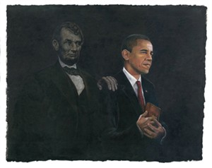"Consuelo Gamboa Limited Edition Signed Giclee On Canvas Ed. 500:""Inspiration (Barack Obama & Abraham Lincoln)"""