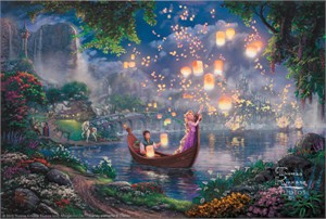 "Thomas Kinkade Studio's Limited Edition Fine Art Print and Hand-Embellished with Painted Accents Giclee Canvas :""Disney's Tangled"""