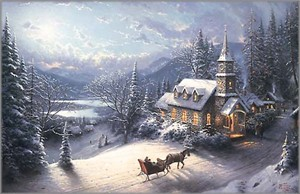 "Thomas Kinkade Open Edition Framed Classic Canvas:""Sunday Evening Sleigh Ride"""