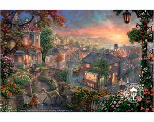 "Thomas Kinkade Signed and Numbered Limited Edition Fine Art Print and Hand-Embellished with Painted Accents Giclee Canvas :""Lady and the Tramp"""