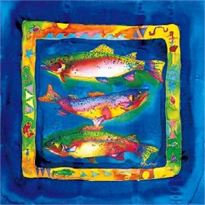 """Nancy Cawdrey Handsigned & Numbered Limited Edition Giclee on Paper:""""Three Jeweled Cutthroats"""""""
