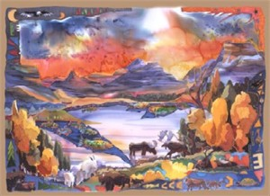 "Nancy Cawdrey Handsigned & Numbered Limited Edition Giclee on Paper:""Sunpoint Glacier"""