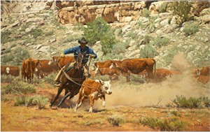 "Bill Owen Hand Numbered Limited Edition Canvas Giclee:""Going to the Fire"""