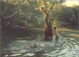 "Tim Cox Hand-signed and Numbered Limited Edition Canvas:""The Swimming Hole"""