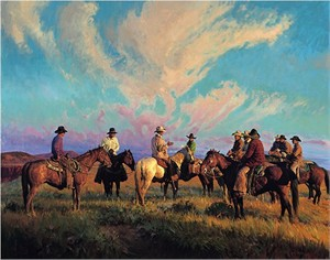"Bill Owen Hand Numbered Limited Edition Canvas Giclee:""Cowboss Scattering the Hands"""