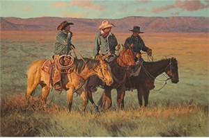 "Bill Owen Hand Numbered Limited Edition Canvas Giclee:""Talking to the Buckaroo"""