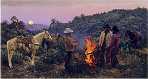 "Bill Owen Hand Numbered Limited Edition Canvas Giclee:""Brush Hands Waiting for Daylight"""
