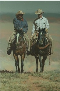 "Bill Owen Hand Numbered Limited Edition Canvas Giclee:""Two Generations - Bill and Vic Howell"""