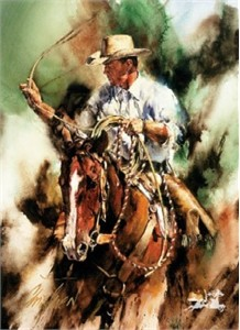 "Chris Owen Hand Signed and Numbered Limited Edition Print: ""Ranch Ropin"""