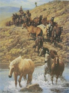 "Wayne Baize Hand Signed and Numbered Limited Edition Lithograph On Paper ""Along the Trail"""
