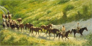 "Wayne Baize Hand Signed and Numbered Limited Edition Lithograph On Paper ""Bringing the Remuda"""