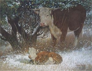"""Wayne Baize Hand Signed and Numbered Limited Edition Lithograph On Paper """"Winter Arrival"""""""